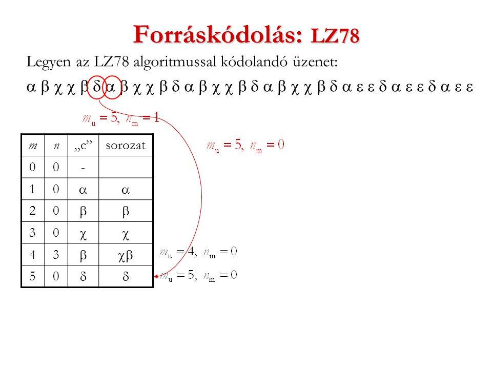"""Forráskódolás: LZ78 Legyen az LZ78 algoritmussal kódolandó üzenet:  mn""""c sorozat 00- 10  20  30  43  50 """