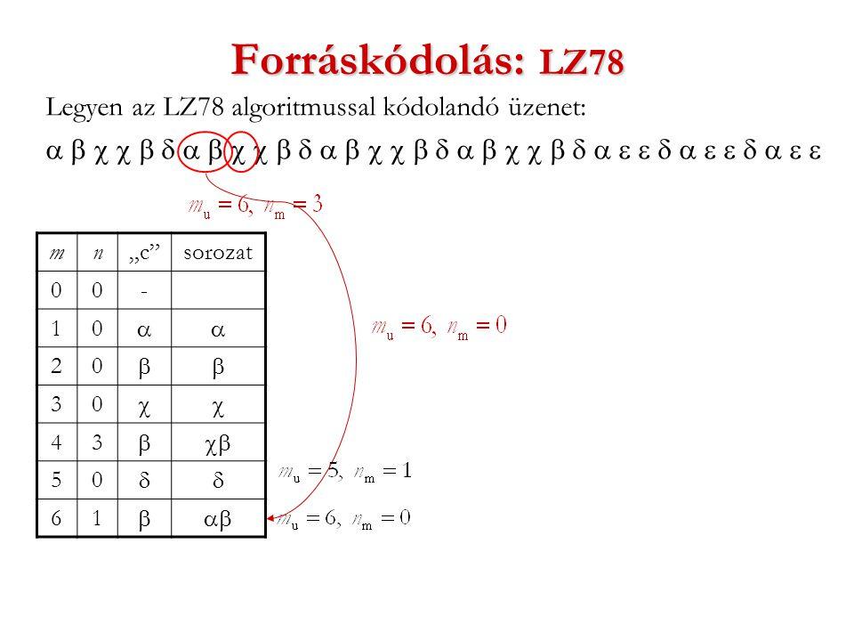 """Forráskódolás: LZ78 Legyen az LZ78 algoritmussal kódolandó üzenet:  mn""""c sorozat 00- 10  20  30  43  50  61 """