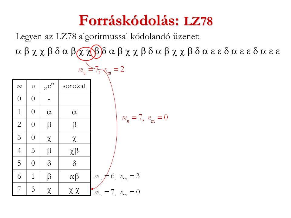 """Forráskódolás: LZ78 Legyen az LZ78 algoritmussal kódolandó üzenet:  mn""""c sorozat 00- 10  20  30  43  50  61  73 """