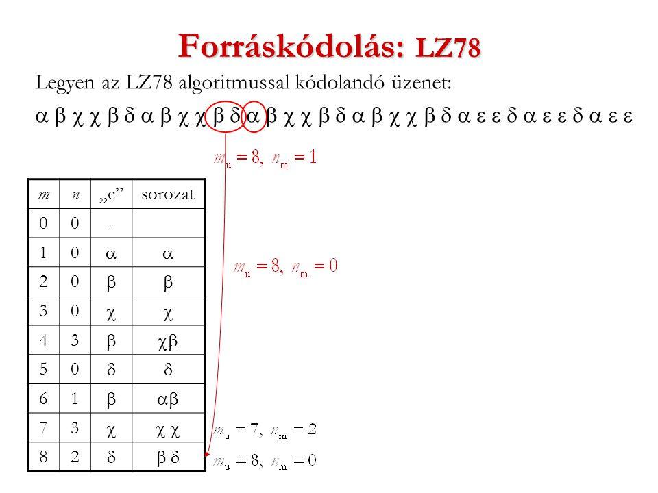 """Forráskódolás: LZ78 Legyen az LZ78 algoritmussal kódolandó üzenet:  mn""""c sorozat 00- 10  20  30  43  50  61  73  82 """