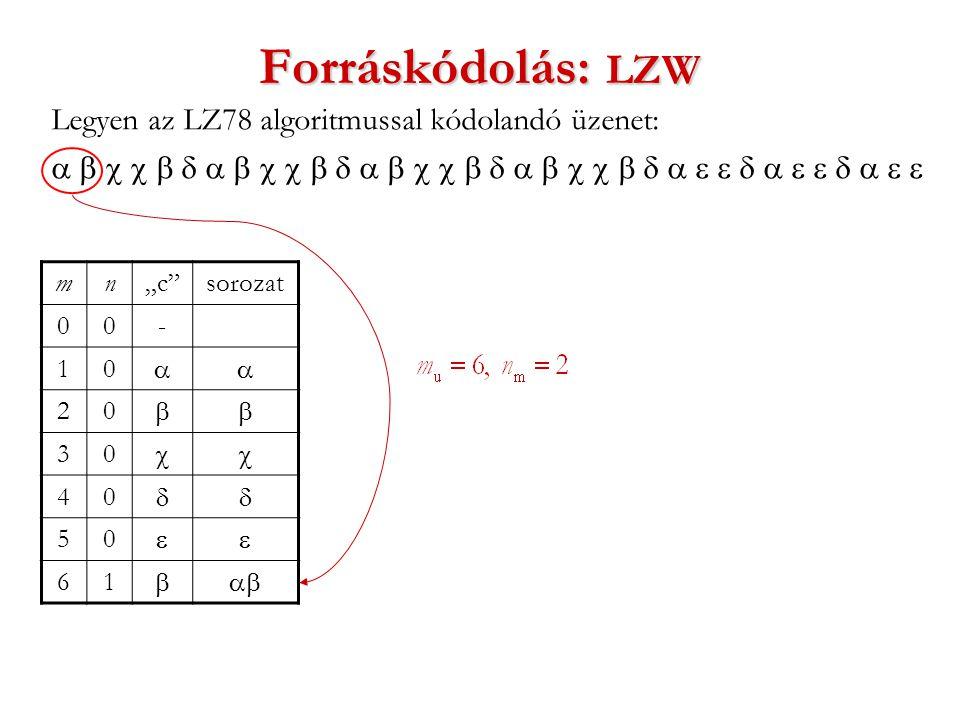 """Forráskódolás: LZW Legyen az LZ78 algoritmussal kódolandó üzenet:  mn""""c sorozat 00- 10  20  30  40  50  61 """