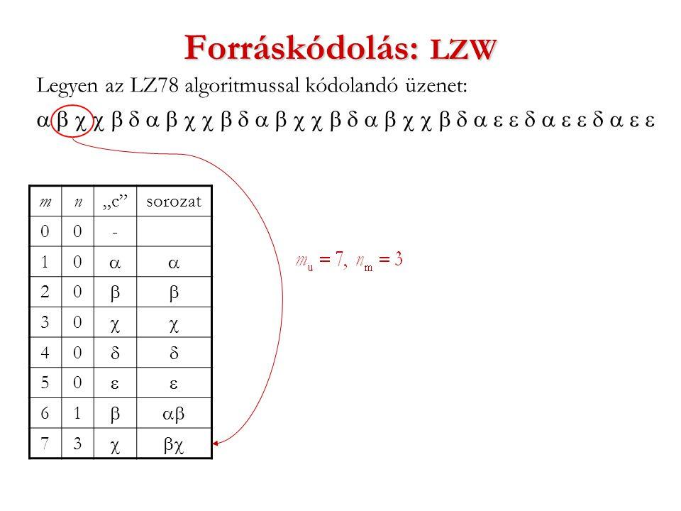 """Forráskódolás: LZW Legyen az LZ78 algoritmussal kódolandó üzenet:  mn""""c sorozat 00- 10  20  30  40  50  61  73 """