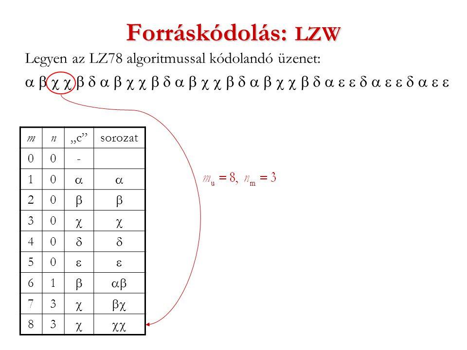 """Forráskódolás: LZW Legyen az LZ78 algoritmussal kódolandó üzenet:  mn""""c sorozat 00- 10  20  30  40  50  61  73  83 """