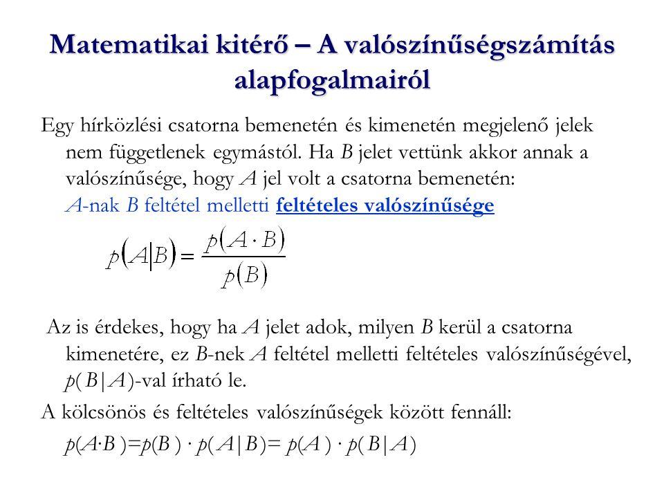 A feltételes entrópia Legyen A={A 1, …, A m 1 } a lehetséges leadott jelek halmaza, B={B 1, …, B m 2 } pedig a vehető jelek halmaza.
