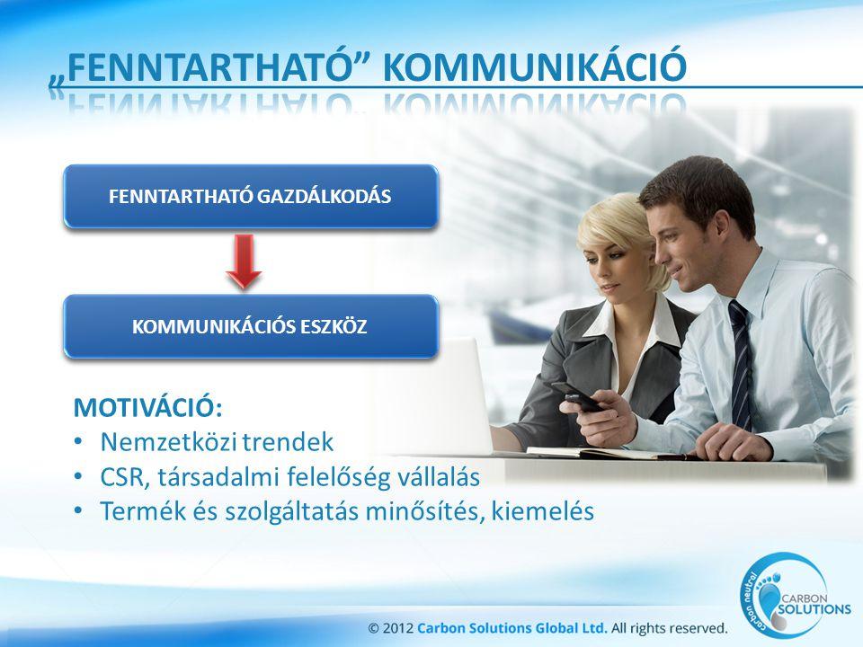 MOTIVÁCIÓ: Nemzetközi trendek CSR, társadalmi felelőség vállalás Termék és szolgáltatás minősítés, kiemelés FENNTARTHATÓ GAZDÁLKODÁS KOMMUNIKÁCIÓS ESZKÖZ