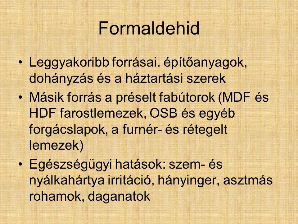 Formaldehid Leggyakoribb forrásai.