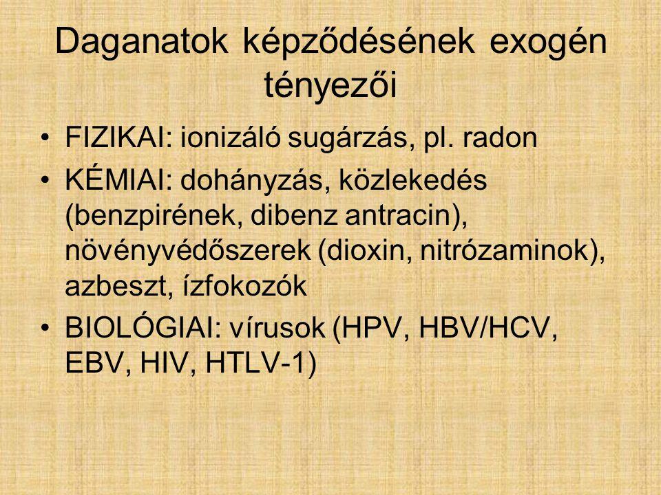 Daganatok képződésének exogén tényezői FIZIKAI: ionizáló sugárzás, pl.
