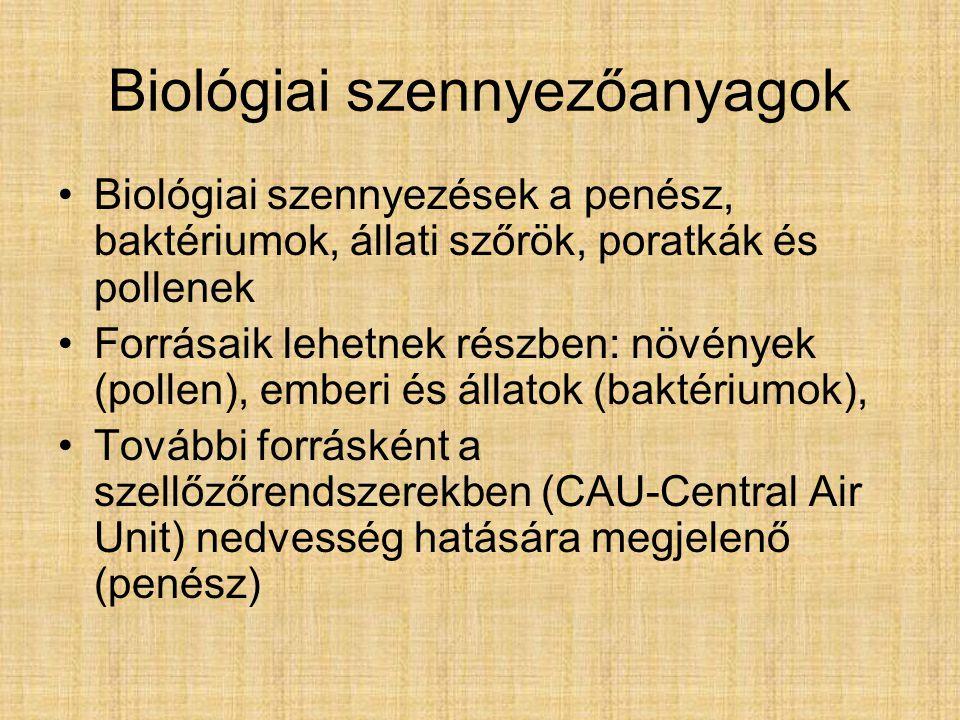 Biológiai szennyezőanyagok Biológiai szennyezések a penész, baktériumok, állati szőrök, poratkák és pollenek Forrásaik lehetnek részben: növények (pollen), emberi és állatok (baktériumok), További forrásként a szellőzőrendszerekben (CAU-Central Air Unit) nedvesség hatására megjelenő (penész)
