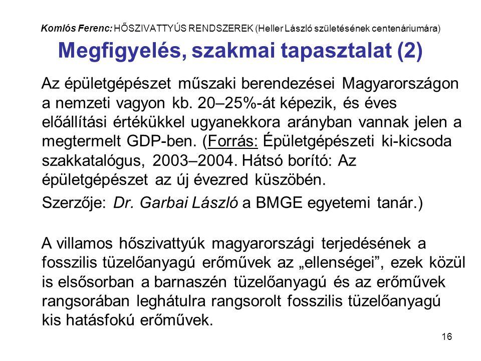 16 Komlós Ferenc: HŐSZIVATTYÚS RENDSZEREK (Heller László születésének centenáriumára) Megfigyelés, szakmai tapasztalat (2) Az épületgépészet műszaki berendezései Magyarországon a nemzeti vagyon kb.