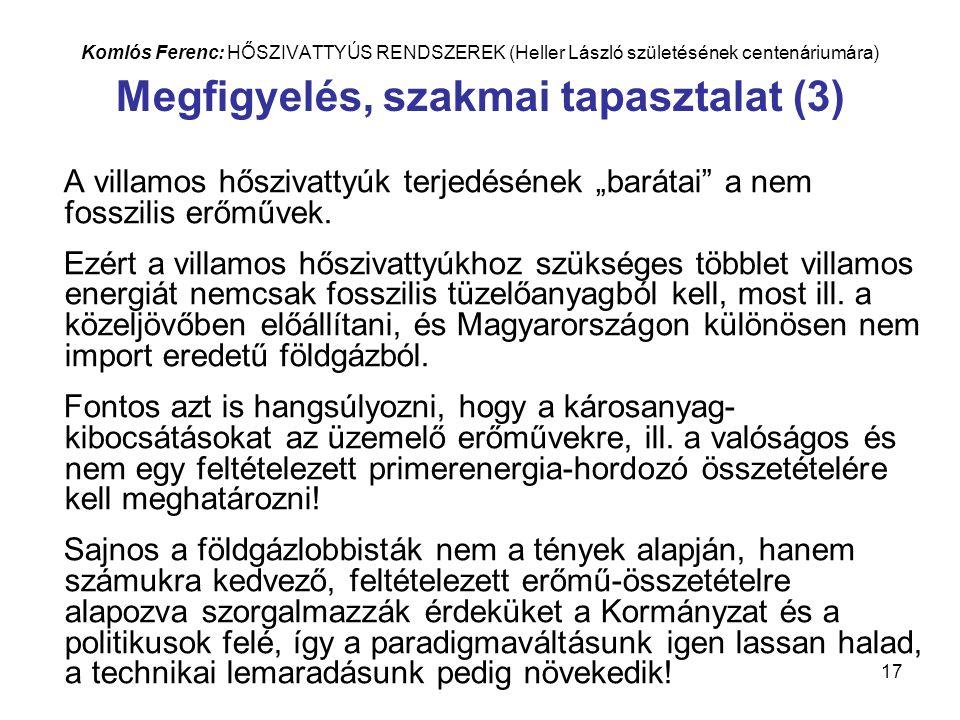 """17 Komlós Ferenc: HŐSZIVATTYÚS RENDSZEREK (Heller László születésének centenáriumára) Megfigyelés, szakmai tapasztalat (3) A villamos hőszivattyúk terjedésének """"barátai a nem fosszilis erőművek."""