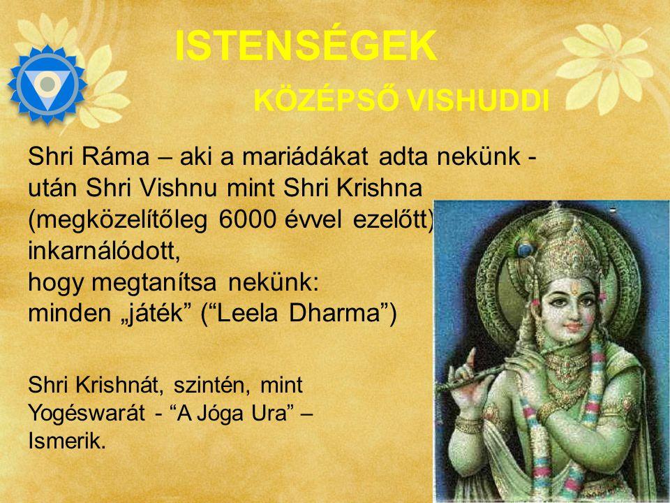 SAHAJAYOGA ISTENSÉGEK Shri Krishna, kék-bőrű, Valamennyi teremtmény Ura és a világ védelmezője KÖZÉPSŐ VISHUDDI Shri Radha az ő odaadó Shaktija.