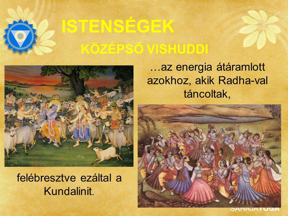 SAHAJAYOGA ISTENSÉGEK Krishna ereje Radha, ő tartja fenn az energiát. Rad energiával táncolót jelent KÖZÉPSŐ VISHUDDI Krishna fuvoláján játszott Shri