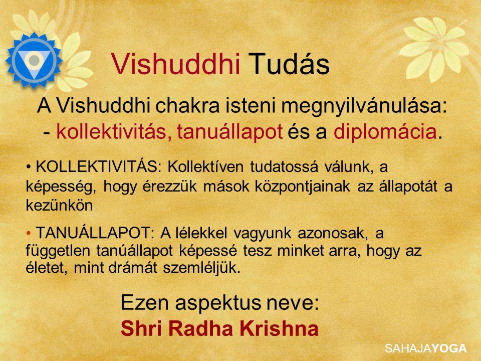 SAHAJAYOGA Vishuddhi Tudás Tulajdonságok Isteni diplomácia Kommunikáció Kollektív tudat Tanu és szemlélő, nem ragaszkodás Humor és kedélyérzet