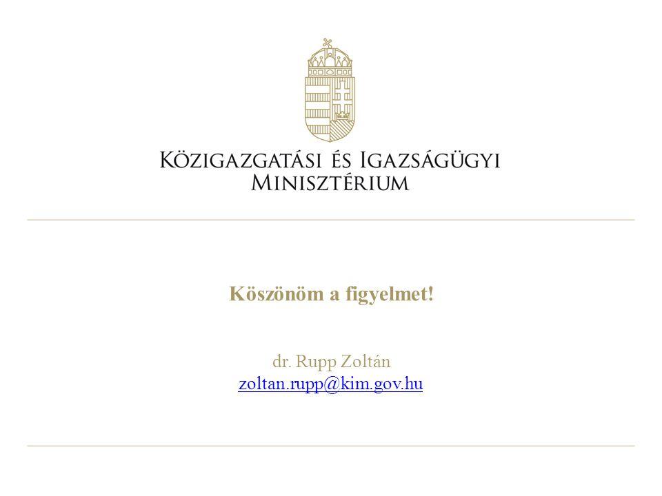Köszönöm a figyelmet! dr. Rupp Zoltán zoltan.rupp@kim.gov.hu zoltan.rupp@kim.gov.hu