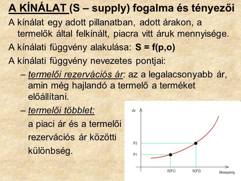 A KÍNÁLAT (S – supply) fogalma és tényezői A kínálat egy adott pillanatban, adott árakon, a termelők által felkínált, piacra vitt áruk mennyisége.