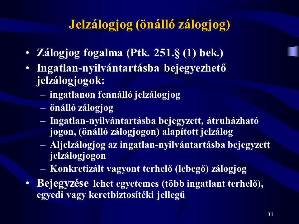31 Jelzálogjog (önálló zálogjog) Zálogjog fogalma (Ptk. 251.§ (1) bek.) Ingatlan-nyilvántartásba bejegyezhető jelzálogjogok: –ingatlanon fennálló jelz