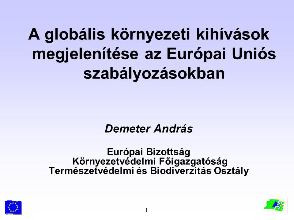 2 Az Európai Unió környezetvédelmi politikájának néhány mozzanata 1973 az Első Környezetvédelmi Akcióprogram 1987 környezetvédelmi fejezet az Egységes Okmányban Maastrichti és Amszterdami Szerződések óta: > a környezetvédelem vezérelvként jelenik meg >a szennyezés felszámolásáról a megelőzésre terelődik a hangsúly >a civil szféra nagyobb mértékű bevonása >a végrehajtás nagyobb figyelmet kap >a környezeti szempontok integrálása az ágazati politikákba