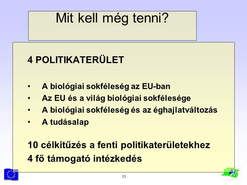 11 Mit kell még tenni? 4 POLITIKATERÜLET A biológiai sokféleség az EU-ban Az EU és a világ biológiai sokfélesége A biológiai sokféleség és az éghajlat