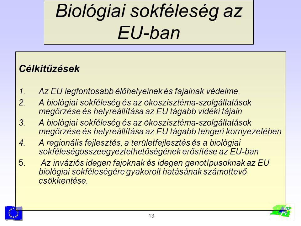 13 Biológiai sokféleség az EU-ban Célkitűzések 1.Az EU legfontosabb élőhelyeinek és fajainak védelme. 2.A biológiai sokféleség és az ökoszisztéma-szol