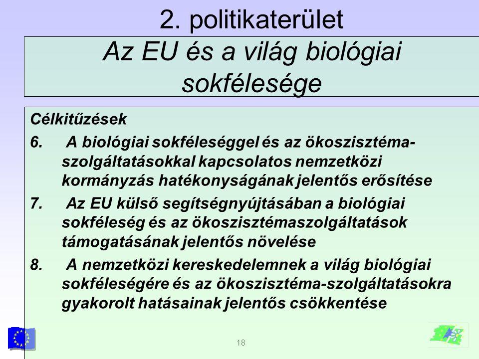 18 2. politikaterület Az EU és a világ biológiai sokfélesége Célkitűzések 6. A biológiai sokféleséggel és az ökoszisztéma- szolgáltatásokkal kapcsolat