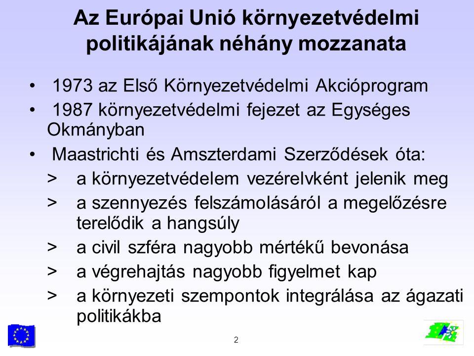 2 Az Európai Unió környezetvédelmi politikájának néhány mozzanata 1973 az Első Környezetvédelmi Akcióprogram 1987 környezetvédelmi fejezet az Egységes