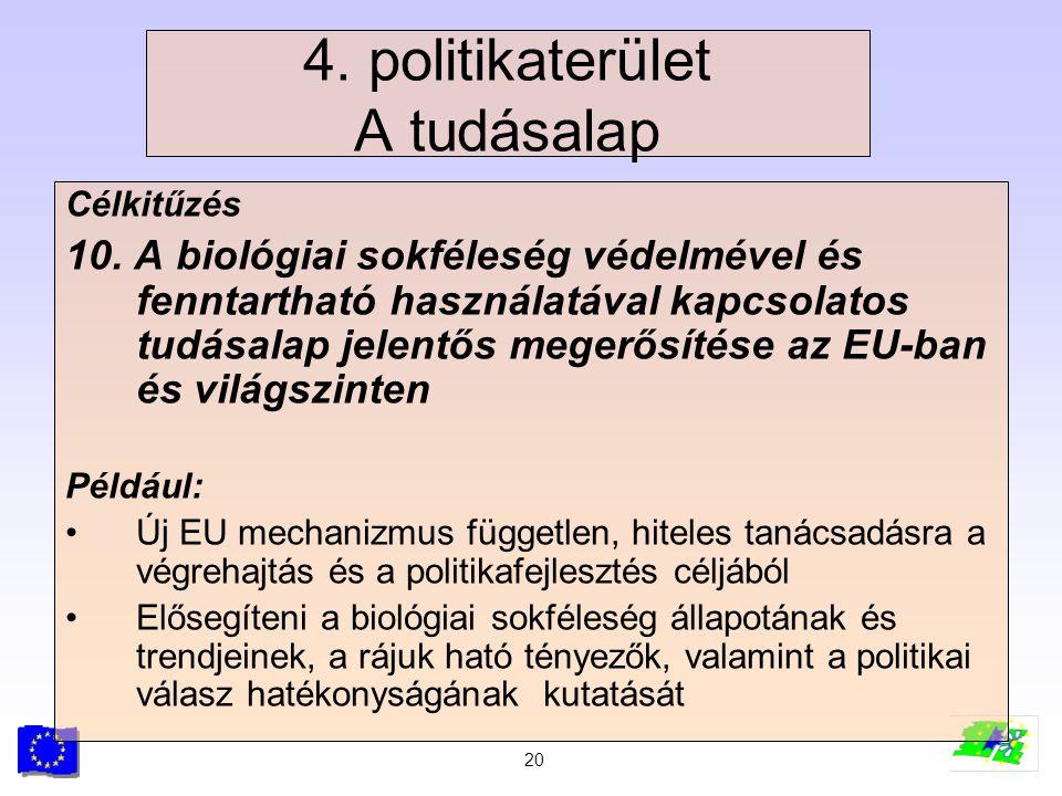 20 4. politikaterület A tudásalap Célkitűzés 10. A biológiai sokféleség védelmével és fenntartható használatával kapcsolatos tudásalap jelentős megerő
