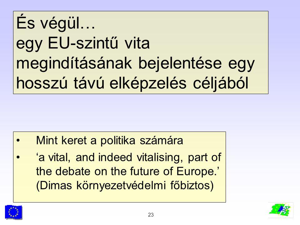 23 És végül… egy EU-szintű vita megindításának bejelentése egy hosszú távú elképzelés céljából Mint keret a politika számára 'a vital, and indeed vita