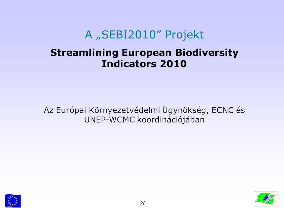 """26 A """"SEBI2010"""" Projekt Streamlining European Biodiversity Indicators 2010 Az Európai Környezetvédelmi Ügynökség, ECNC és UNEP-WCMC koordinációjában"""