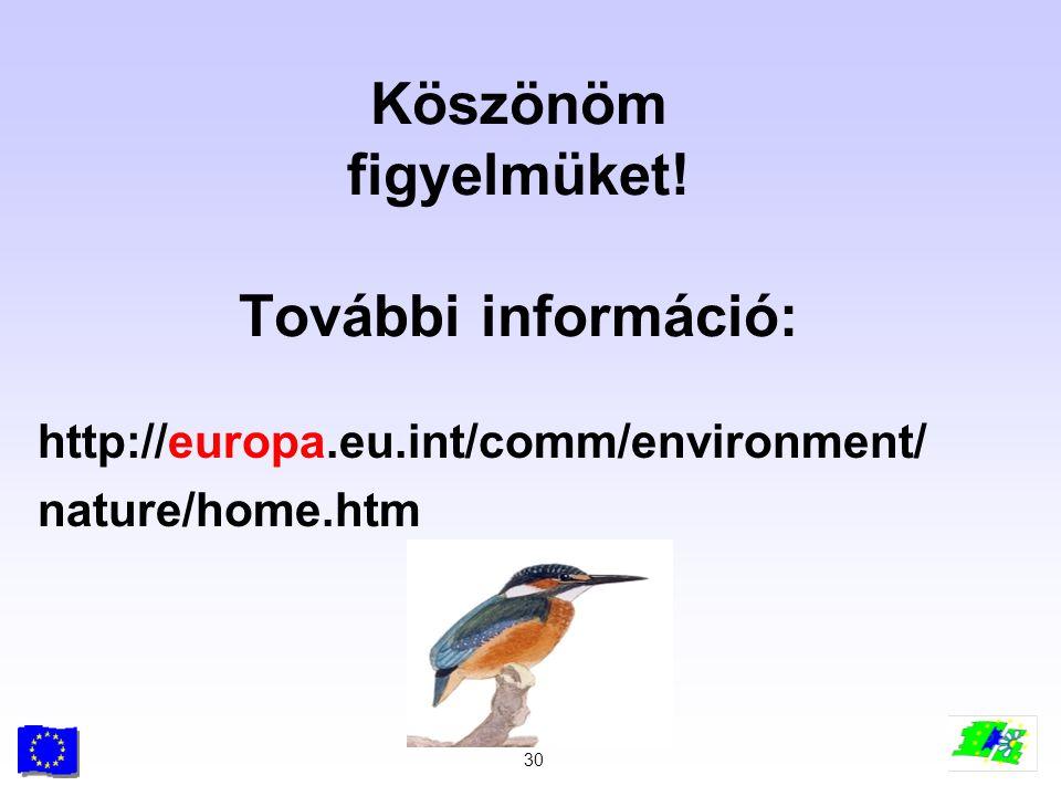 30 Köszönöm figyelmüket! További információ: http://europa.eu.int/comm/environment/ nature/home.htm
