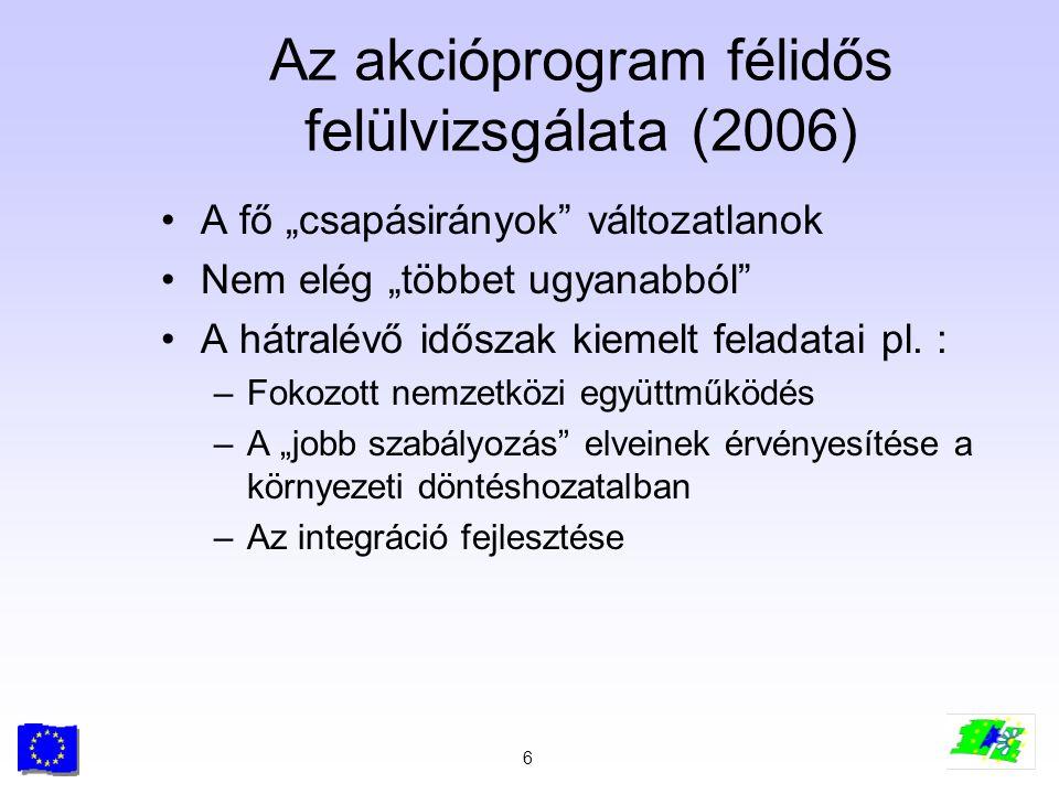 """6 Az akcióprogram félidős felülvizsgálata (2006) A fő """"csapásirányok"""" változatlanok Nem elég """"többet ugyanabból"""" A hátralévő időszak kiemelt feladatai"""