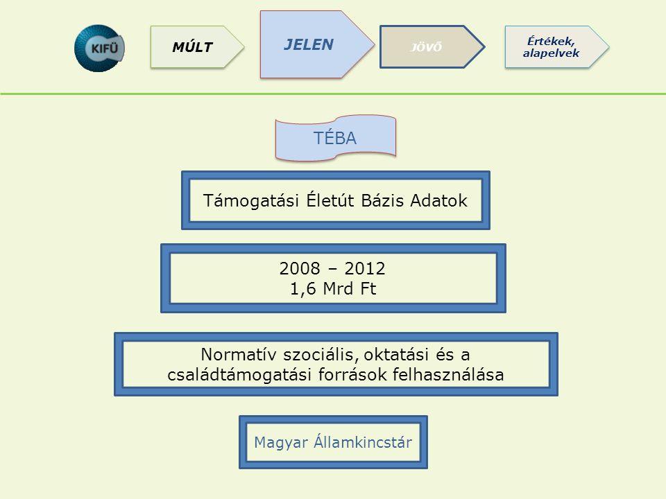 TÉBA Normatív szociális, oktatási és a családtámogatási források felhasználása Támogatási Életút Bázis Adatok 2008 – 2012 1,6 Mrd Ft Magyar Államkincs