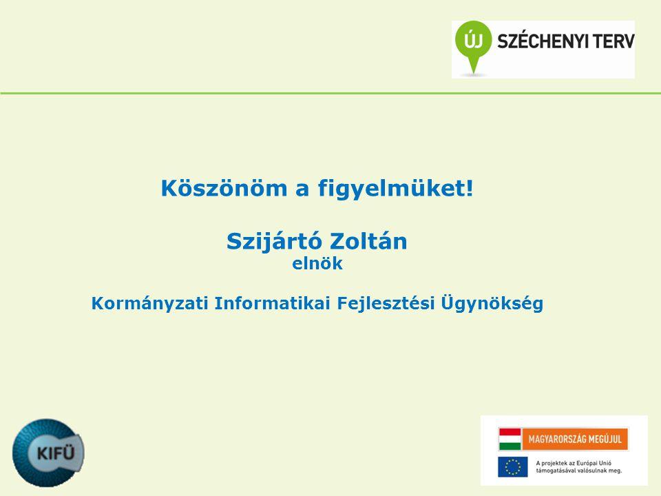 Köszönöm a figyelmüket! Szijártó Zoltán elnök Kormányzati Informatikai Fejlesztési Ügynökség