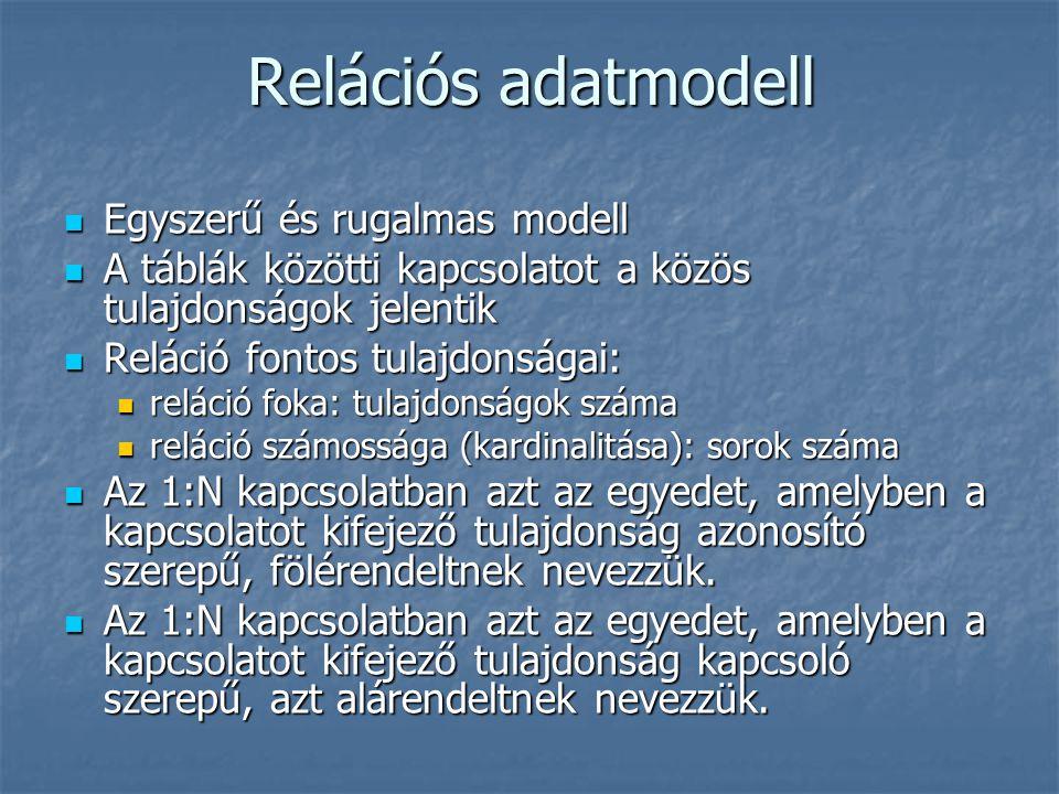 Relációs adatmodell Egyszerű és rugalmas modell Egyszerű és rugalmas modell A táblák közötti kapcsolatot a közös tulajdonságok jelentik A táblák közöt