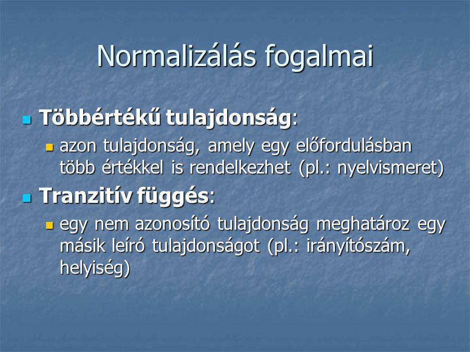 Normalizálás fogalmai Többértékű tulajdonság: Többértékű tulajdonság: azon tulajdonság, amely egy előfordulásban több értékkel is rendelkezhet (pl.: n