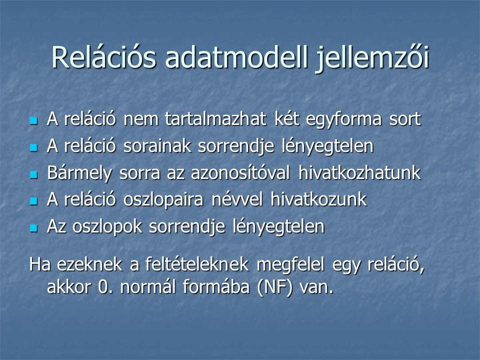 Relációs adatmodell jellemzői A reláció nem tartalmazhat két egyforma sort A reláció nem tartalmazhat két egyforma sort A reláció sorainak sorrendje l