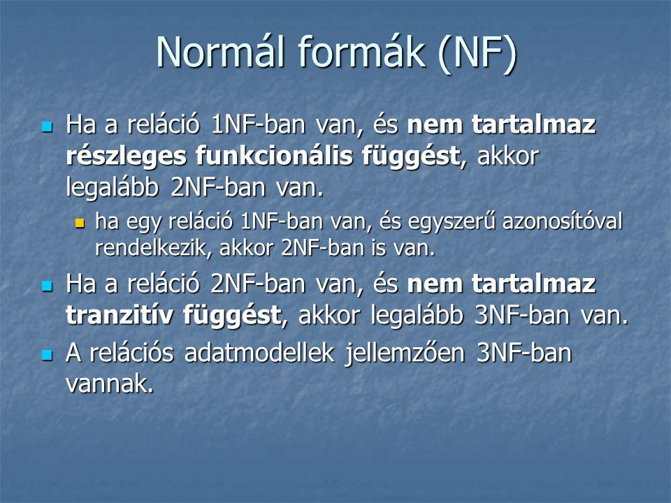 Normál formák (NF) Ha a reláció 1NF-ban van, és nem tartalmaz részleges funkcionális függést, akkor legalább 2NF-ban van. Ha a reláció 1NF-ban van, és