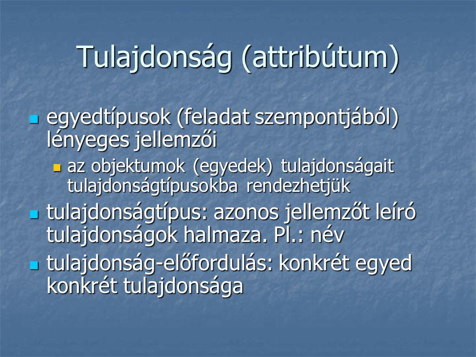 Tulajdonság (attribútum) egyedtípusok (feladat szempontjából) lényeges jellemzői egyedtípusok (feladat szempontjából) lényeges jellemzői az objektumok