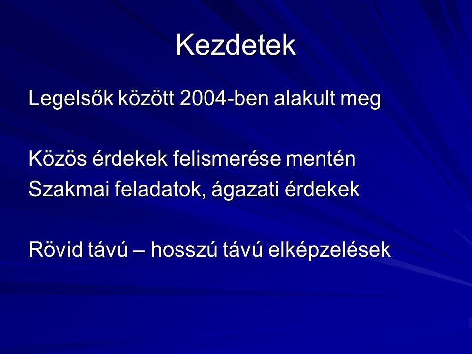 Kezdetek Legelsők között 2004-ben alakult meg Közös érdekek felismerése mentén Szakmai feladatok, ágazati érdekek Rövid távú – hosszú távú elképzelések