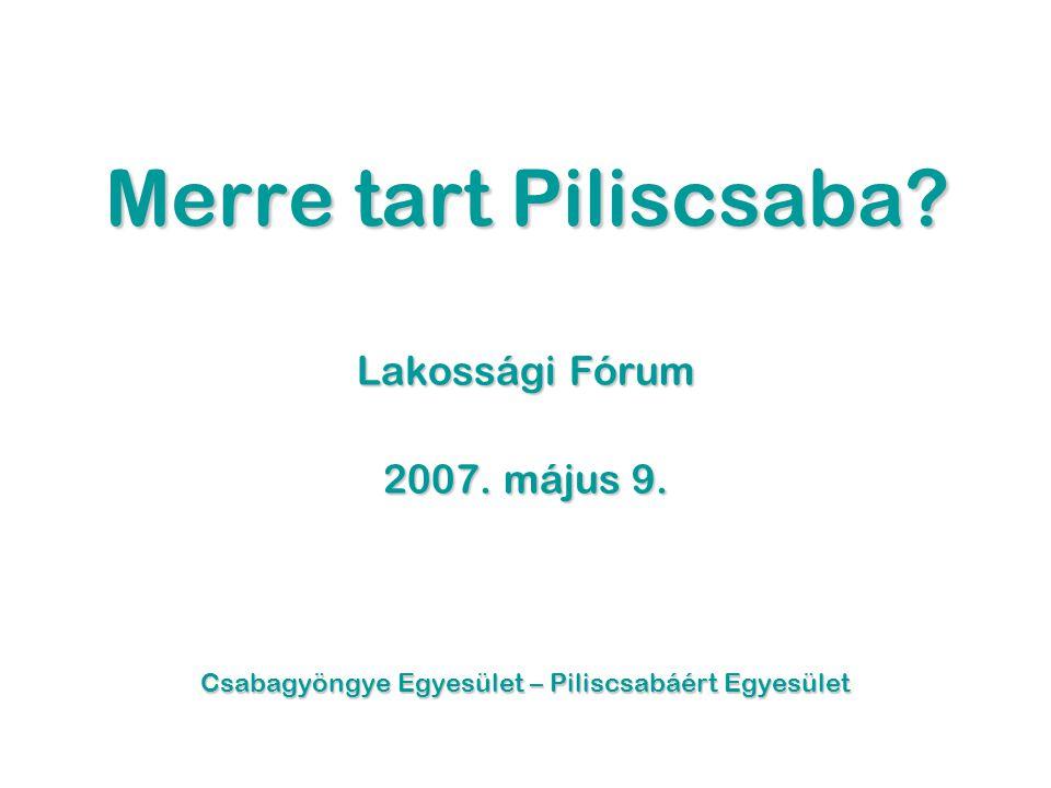 Merre tart Piliscsaba. Lakossági Fórum 2007. május 9.