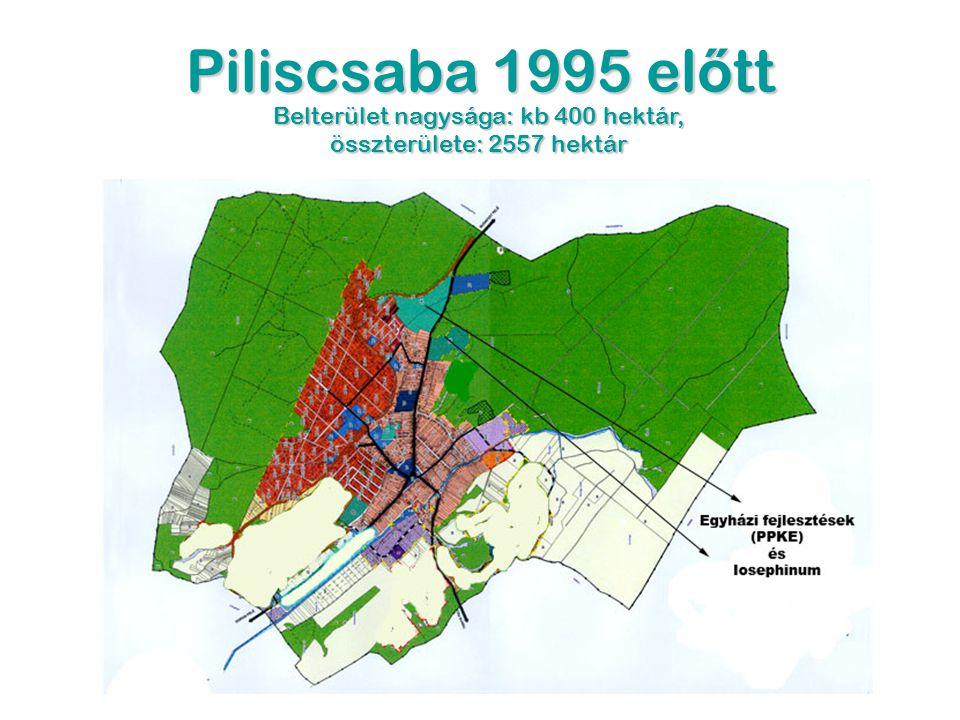 Piliscsaba 1995 el ő tt Belterület nagysága: kb 400 hektár, összterülete: 2557 hektár