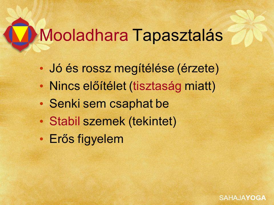 SAHAJAYOGA Mooladhara Tapasztalás Jó és rossz megítélése (érzete) Nincs előítélet (tisztaság miatt) Senki sem csaphat be Stabil szemek (tekintet) Erős