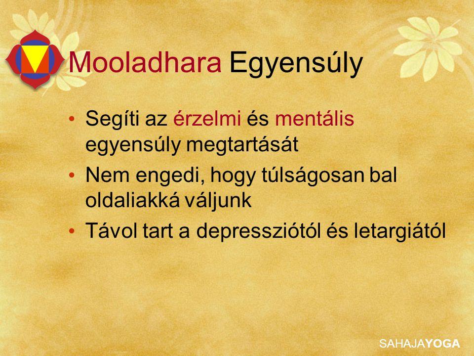 SAHAJAYOGA Mooladhara Egyensúly Segíti az érzelmi és mentális egyensúly megtartását Nem engedi, hogy túlságosan bal oldaliakká váljunk Távol tart a de