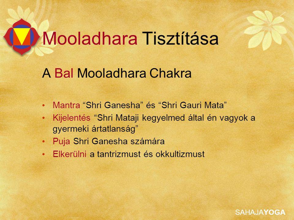 """SAHAJAYOGA Mooladhara Tisztítása A Bal Mooladhara Chakra Mantra """"Shri Ganesha"""" és """"Shri Gauri Mata"""" Kijelentés """"Shri Mataji kegyelmed által én vagyok"""