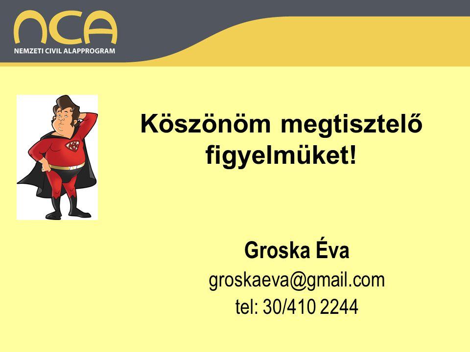 Köszönöm megtisztelő figyelmüket! Groska Éva groskaeva@gmail.com tel: 30/410 2244