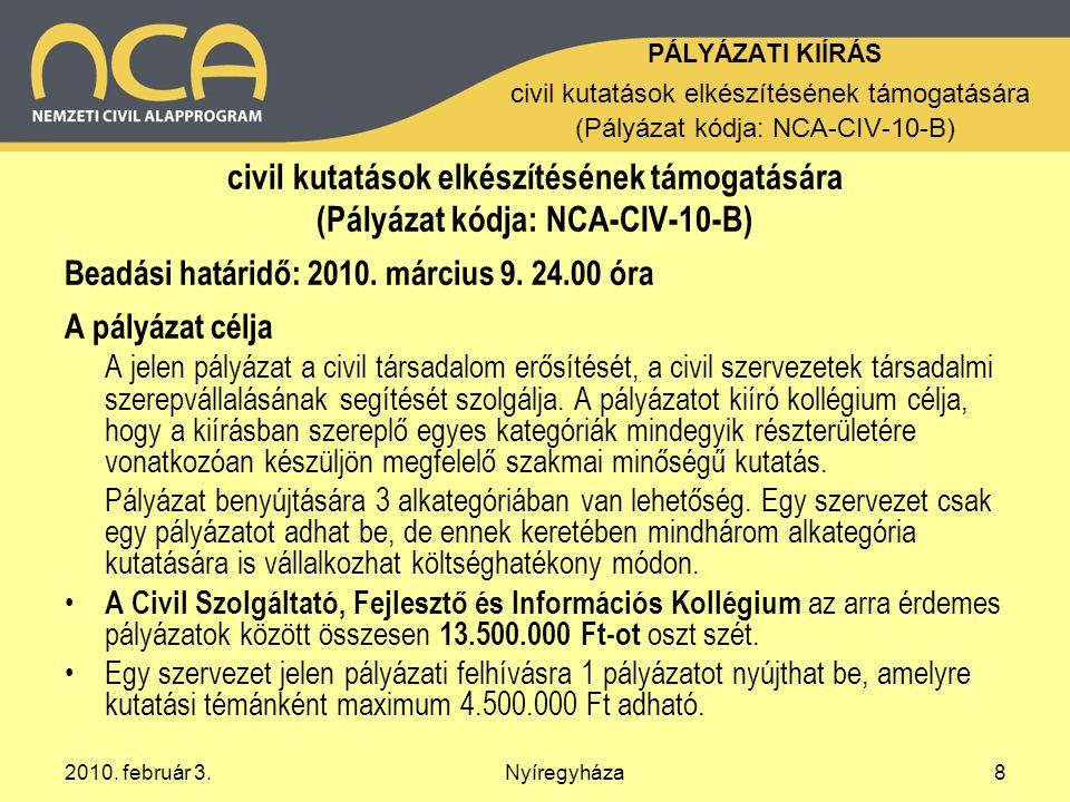 2010.február 3.Nyíregyháza9 Alkategóriák / A.