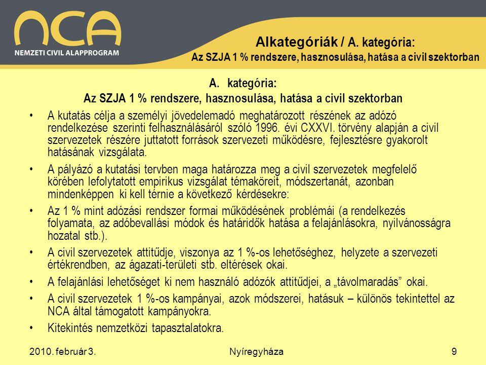 2010. február 3.Nyíregyháza9 Alkategóriák / A.