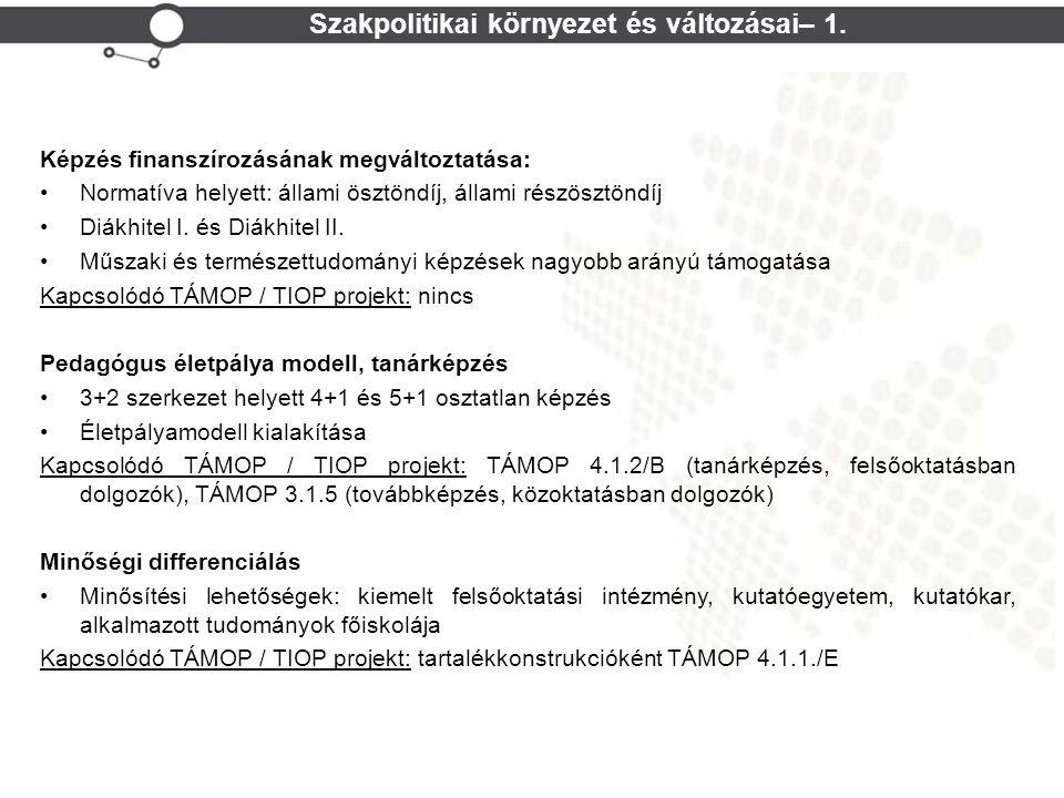 Szakpolitikai környezet és változásai– 1.