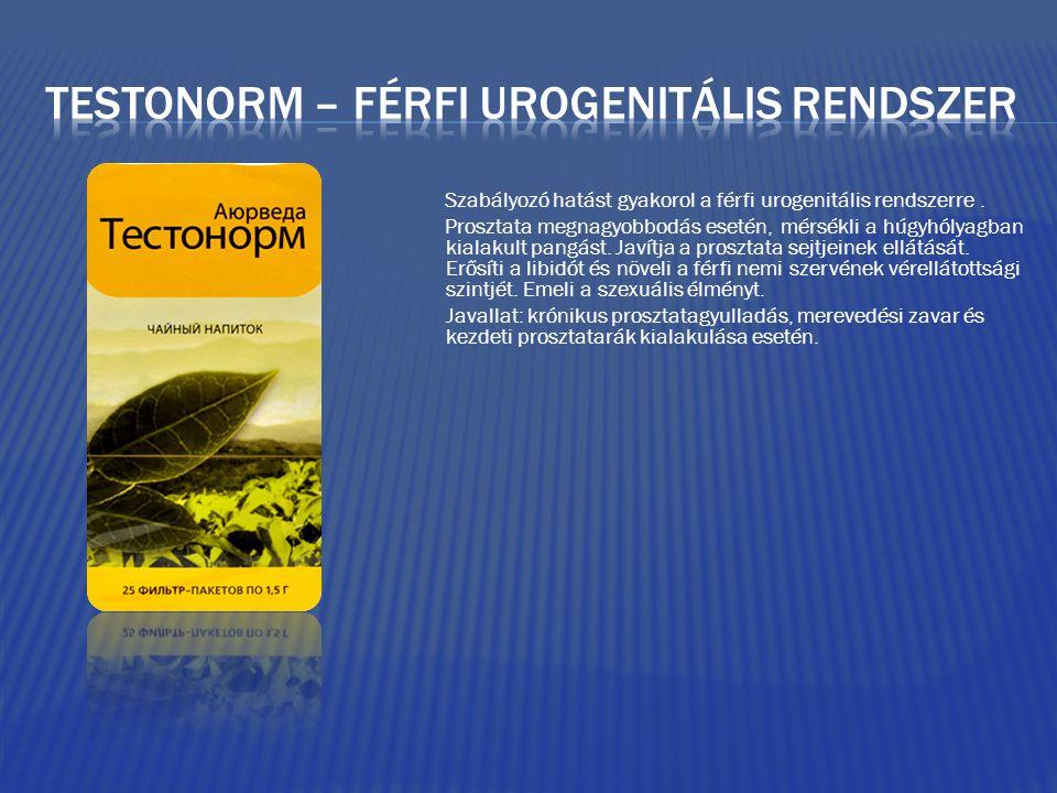 Szabályozó hatást gyakorol a férfi urogenitális rendszerre.