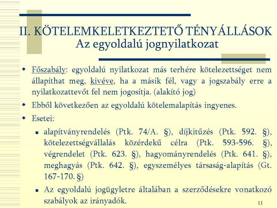 11  Főszabály: egyoldalú nyilatkozat más terhére kötelezettséget nem állapíthat meg, kivéve, ha a másik fél, vagy a jogszabály erre a nyilatkozattevő