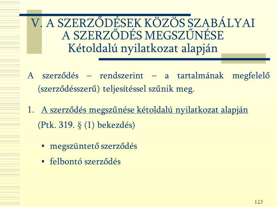 123 A szerződés – rendszerint – a tartalmának megfelelő (szerződésszerű) teljesítéssel szűnik meg. 1. A szerződés megszűnése kétoldalú nyilatkozat ala